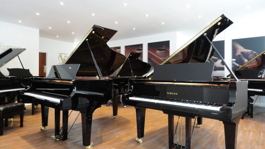 Premium Grand Pianos in our Grand Hall at Piano House